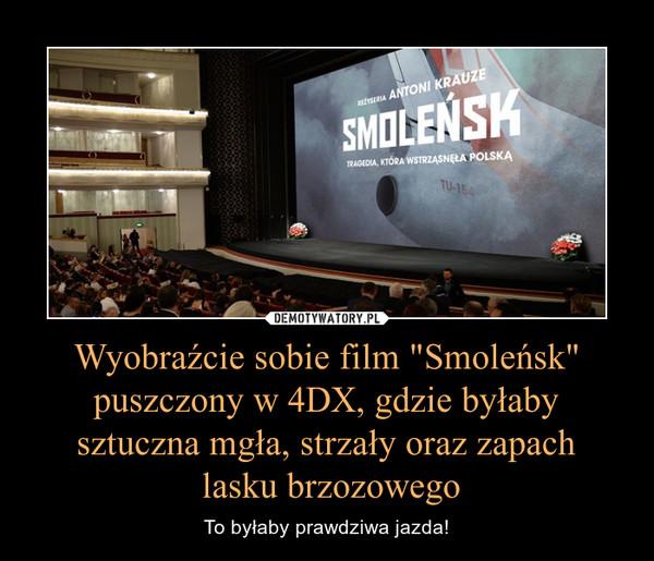 """Wyobraźcie sobie film """"Smoleńsk"""" puszczony w 4DX, gdzie byłaby sztuczna mgła, strzały oraz zapach lasku brzozowego – To byłaby prawdziwa jazda!"""