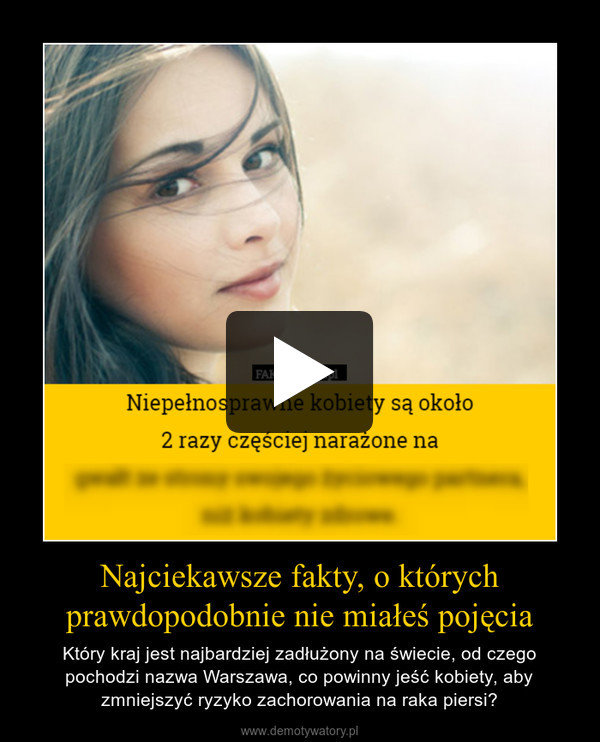 Najciekawsze fakty, o którychprawdopodobnie nie miałeś pojęcia – Który kraj jest najbardziej zadłużony na świecie, od czego pochodzi nazwa Warszawa, co powinny jeść kobiety, aby zmniejszyć ryzyko zachorowania na raka piersi?