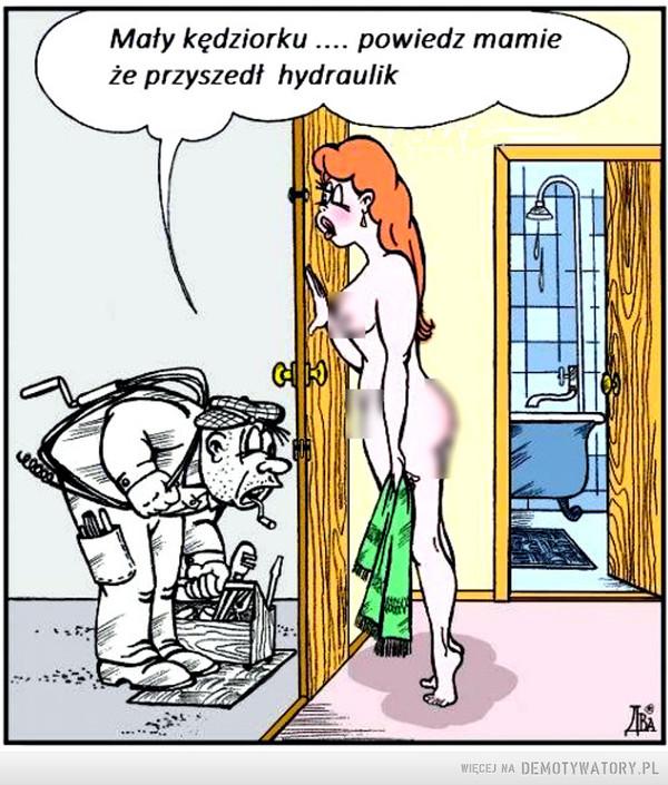 Hydraulik –  Mały kędziorku .... powiedz mamieże przyszedł hydraulik