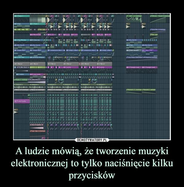 A ludzie mówią, że tworzenie muzyki elektronicznej to tylko naciśnięcie kilku przycisków –