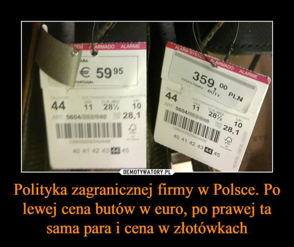 Polityka zagranicznej firmy w Polsce. Po lewej cena butów w euro, po prawej ta sama para i cena w złotówkach –