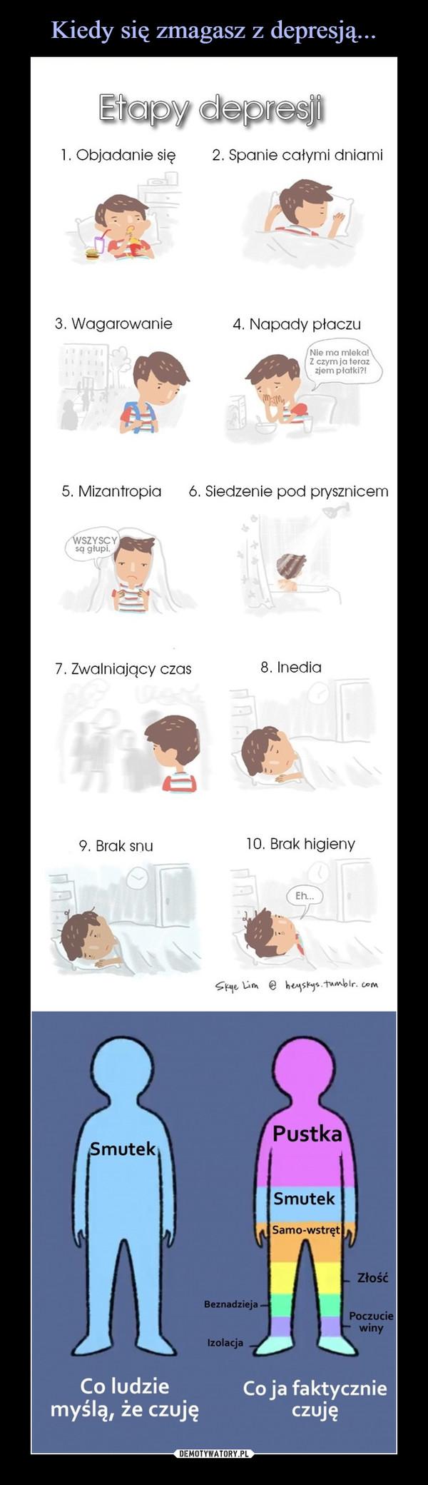 –  Etapy depresji:1. Objadanie się 2. Spanie całymi dniami3. Wagarowanie4.Napadypłaczu5. Mizantropia 6. Siedzenie pod prysznicem7. Zwalniający czas8. Inedia9. Brak snu10.BrakhigienyCo ludzieCojafaktyczniemyślą, że czujęczuję