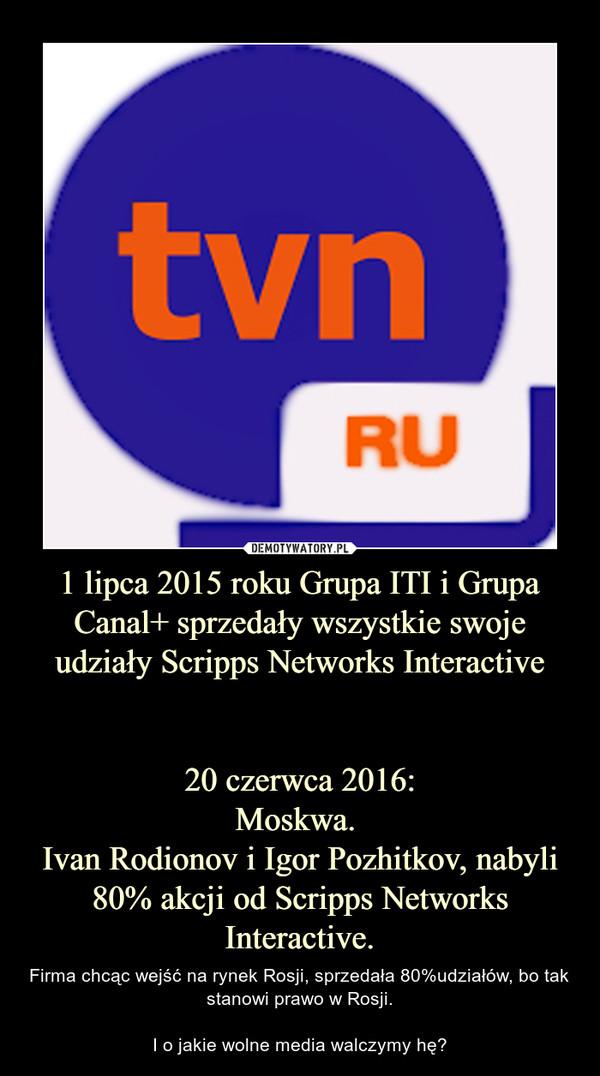 1 lipca 2015 roku Grupa ITI i Grupa Canal+ sprzedały wszystkie swoje udziały Scripps Networks Interactive20 czerwca 2016:Moskwa. Ivan Rodionov i Igor Pozhitkov, nabyli 80% akcji od Scripps Networks Interactive. – Firma chcąc wejść na rynek Rosji, sprzedała 80%udziałów, bo tak stanowi prawo w Rosji.I o jakie wolne media walczymy hę?