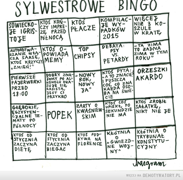 Sylwestrowe bingo –  SYLWESTROWE BINGO