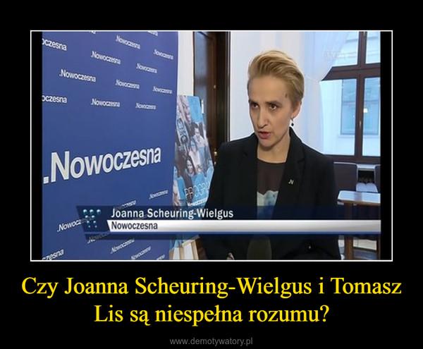 Czy Joanna Scheuring-Wielgus i Tomasz Lis są niespełna rozumu? –
