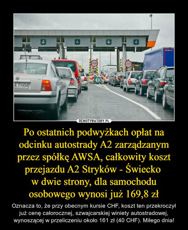 Po ostatnich podwyżkach opłat na odcinku autostrady A2 zarządzanym przez spółkę AWSA, całkowity koszt przejazdu A2 Stryków - Świecko w dwie strony, dla samochodu osobowego wynosi już 169,8 zł – Oznacza to, że przy obecnym kursie CHF, koszt ten przekroczył już cenę całorocznej, szwajcarskiej winiety autostradowej, wynoszącej w przeliczeniu około 161 zł (40 CHF). Miłego dnia!