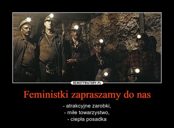Feministki zapraszamy do nas – - atrakcyjne zarobki,- miłe towarzystwo,- ciepła posadka