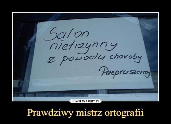 Prawdziwy mistrz ortografii –  Salon nietrzynny z powodu choroby Przepraszamy