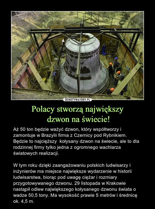 Polacy stworzą największy dzwon na świecie! – Aż 50 ton będzie ważyć dzwon, który współtworzy i zamontuje w Brazylii firma z Czernicy pod Rybnikiem. Będzie to najcięższy  kołysany dzwon na świecie, ale to dla rodzinnej firmy tylko jedna z ogromnego wachlarza światowych realizacji.W tym roku dzięki zaangażowaniu polskich ludwisarzy i inżynierów ma miejsce największe wydarzenie w historii ludwisarstwa, biorąc pod uwagę ciężar i rozmiary przygotowywanego dzwonu. 29 listopada w Krakowie nastąpił odlew największego kołysanego dzwonu świata o wadze 50,5 tony. Ma wysokość prawie 5 metrów i średnicę ok. 4,5 m.