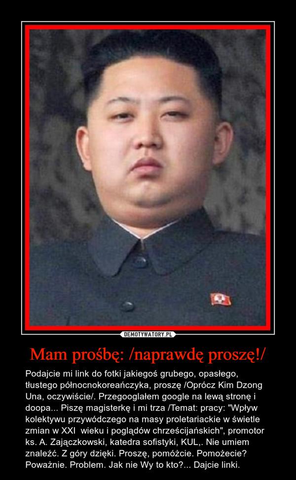 """Mam prośbę: /naprawdę proszę!/ – Podajcie mi link do fotki jakiegoś grubego, opasłego, tłustego północnokoreańczyka, proszę /Oprócz Kim Dzong Una, oczywiście/. Przegooglałem google na lewą stronę i doopa... Piszę magisterkę i mi trza /Temat: pracy: """"Wpływ kolektywu przywódczego na masy proletariackie w świetle zmian w XXI  wieku i poglądów chrześcijańskich"""", promotor ks. A. Zajączkowski, katedra sofistyki, KUL,. Nie umiem znaleźć. Z góry dzięki. Proszę, pomóżcie. Pomożecie? Poważnie. Problem. Jak nie Wy to kto?... Dajcie linki."""