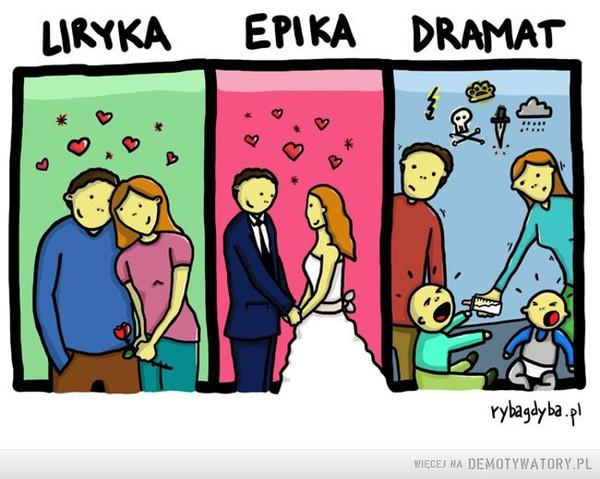 Małżeństwo –  liryka epika dramat