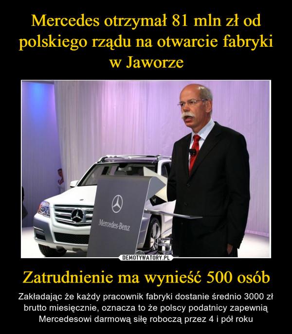 Zatrudnienie ma wynieść 500 osób – Zakładając że każdy pracownik fabryki dostanie średnio 3000 zł brutto miesięcznie, oznacza to że polscy podatnicy zapewnią Mercedesowi darmową siłę roboczą przez 4 i pół roku