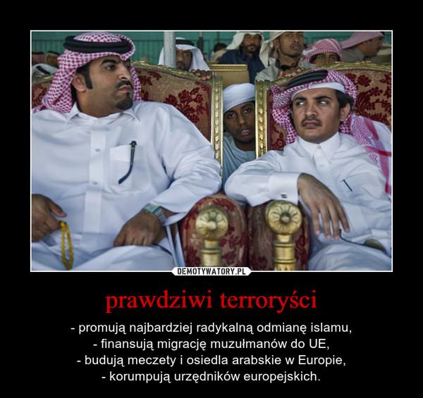 prawdziwi terroryści – - promują najbardziej radykalną odmianę islamu,- finansują migrację muzułmanów do UE,- budują meczety i osiedla arabskie w Europie,- korumpują urzędników europejskich.