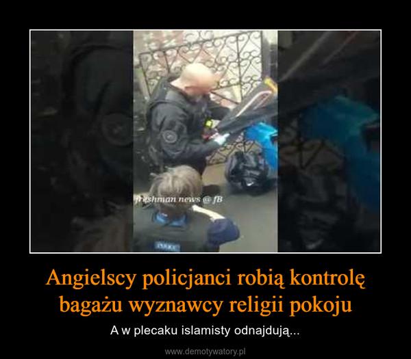 Angielscy policjanci robią kontrolę bagażu wyznawcy religii pokoju – A w plecaku islamisty odnajdują...