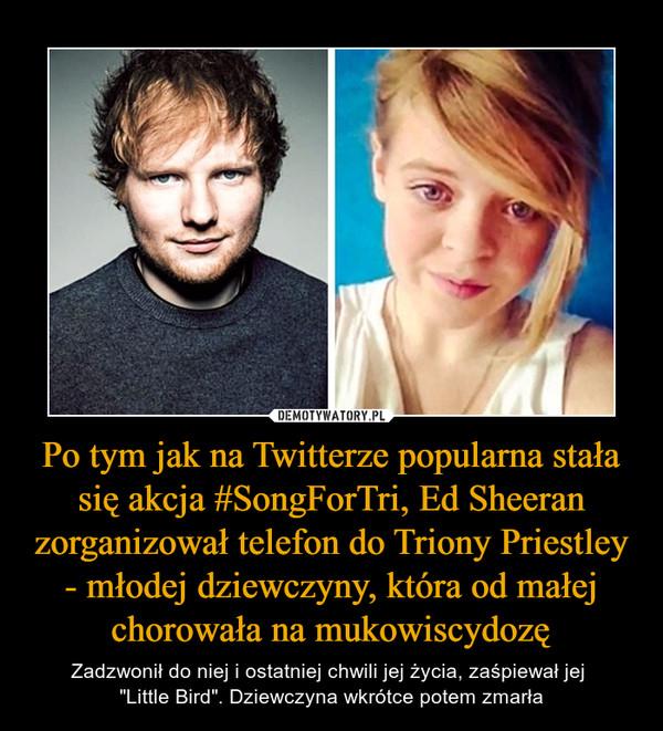 """Po tym jak na Twitterze popularna stała się akcja #SongForTri, Ed Sheeran zorganizował telefon do Triony Priestley - młodej dziewczyny, która od małej chorowała na mukowiscydozę – Zadzwonił do niej i ostatniej chwili jej życia, zaśpiewał jej """"Little Bird"""". Dziewczyna wkrótce potem zmarła"""