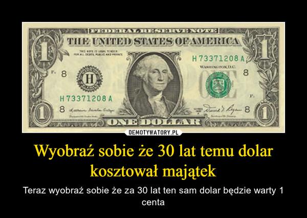 Wyobraź sobie że 30 lat temu dolar kosztował majątek – Teraz wyobraź sobie że za 30 lat ten sam dolar będzie warty 1 centa