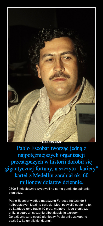 """Pablo Escobar tworząc jedną z najpotężniejszych organizacji przestępczych w historii dorobił się gigantycznej fortuny, u szczytu """"kariery"""" kartel z Medellín zarabiał ok. 60 milionów dolarów dziennie. – 2500 $ miesięcznie wydawali na same gumki do spinania pieniędzy.Pablo Escobar według magazynu Forbesa należał do 8 najbogatszych ludzi na świecie. Mógł pozwolić sobie na to, by każdego roku tracić 10 proc. majątku - jego pieniądze gniły, ulegały zniszczeniu albo zjadały je szczury.Do dziś znaczna część pieniędzy Pabla gniją zakopane gdzieś w kolumbijskiej dżungli."""