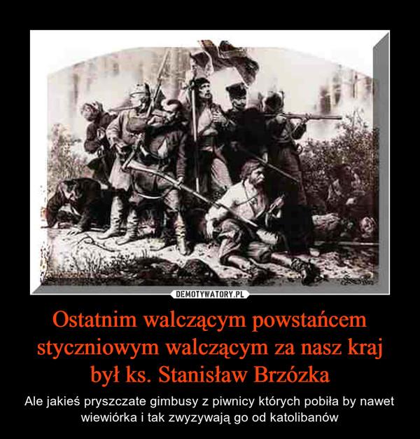 Ostatnim walczącym powstańcem styczniowym walczącym za nasz kraj był ks. Stanisław Brzózka – Ale jakieś pryszczate gimbusy z piwnicy których pobiła by nawet wiewiórka i tak zwyzywają go od katolibanów