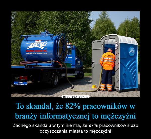 To skandal, że 82% pracowników w branży informatycznej to mężczyźni – Żadnego skandalu w tym nie ma, że 97% pracowników służb oczyszczania miasta to mężczyźni