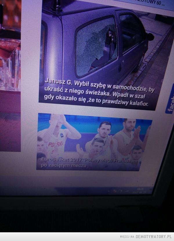 Janusze Świeżaków –  Janusz G. wybił szybę w samochodzie, by ukraść z niego świeżaka. Wpadł w szał, gdy okazało się, że to prawdziwy kalafior.