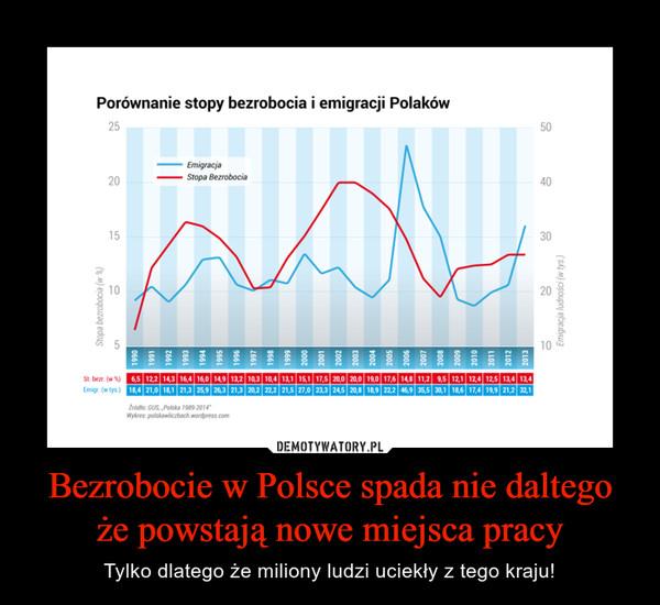Bezrobocie w Polsce spada nie daltego że powstają nowe miejsca pracy – Tylko dlatego że miliony ludzi uciekły z tego kraju!