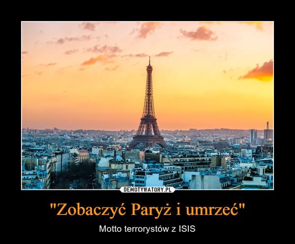 """""""Zobaczyć Paryż i umrzeć"""" – Motto terrorystów z ISIS"""