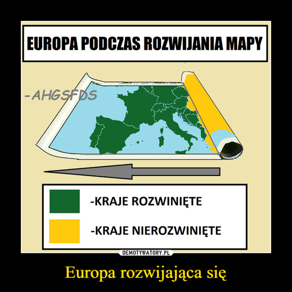 Europa rozwijająca się –  europa podczas rozwijania mapy