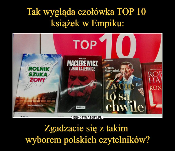 Zgadzacie się z takim wyborem polskich czytelników? –