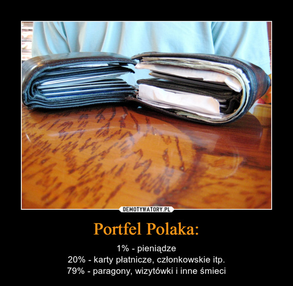 Portfel Polaka: – 1% - pieniądze20% - karty płatnicze, członkowskie itp.79% - paragony, wizytówki i inne śmieci
