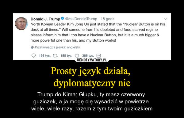 Prosty język działa, dyplomatyczny nie – Trump do Kima: Głupku, ty masz czerwony guziczek, a ja mogę cię wysadzić w powietrze wiele, wiele razy, razem z tym twoim guziczkiem