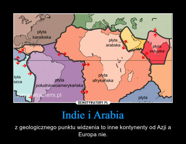 Indie i Arabia – z geologicznego punktu widzenia to inne kontynenty od Azji a Europa nie.