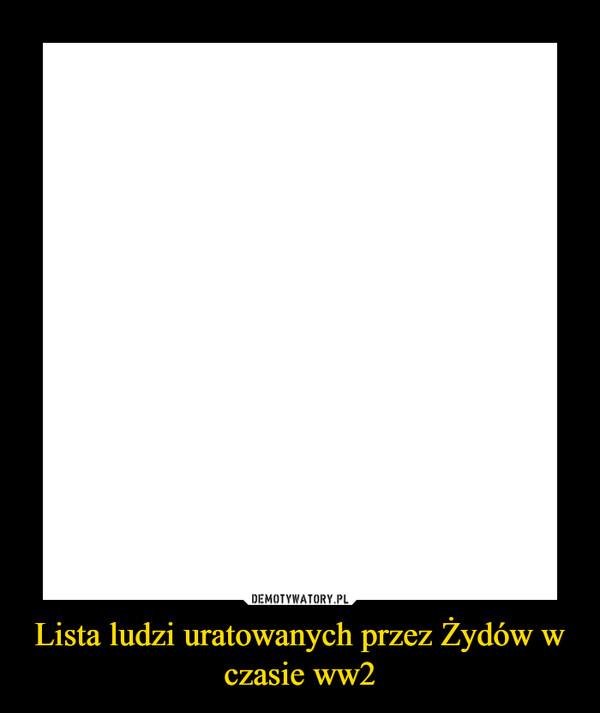 Lista ludzi uratowanych przez Żydów w czasie ww2 –