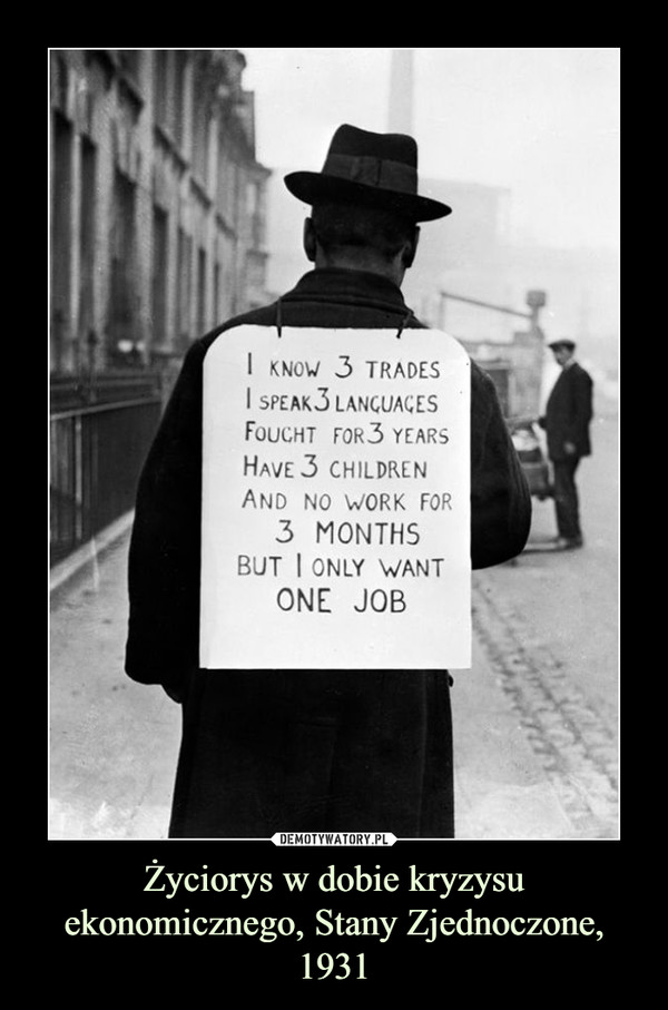 Życiorys w dobie kryzysu ekonomicznego, Stany Zjednoczone, 1931 –