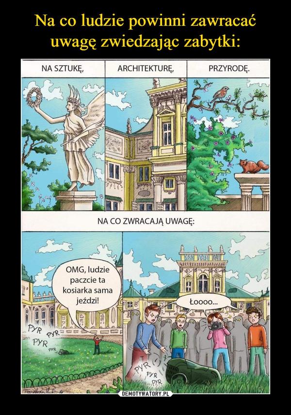 –  Na sztukę Architekturę przyrodę na co zwracają uwagę:OMG, ludzie paczcie ta kosiarka sama jeździ! łooo