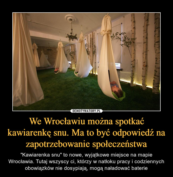 """We Wrocławiu można spotkać kawiarenkę snu. Ma to być odpowiedź na zapotrzebowanie społeczeństwa – """"Kawiarenka snu"""" to nowe, wyjątkowe miejsce na mapie Wrocławia. Tutaj wszyscy ci, którzy w natłoku pracy i codziennych obowiązków nie dosypiają, mogą naładować baterie"""