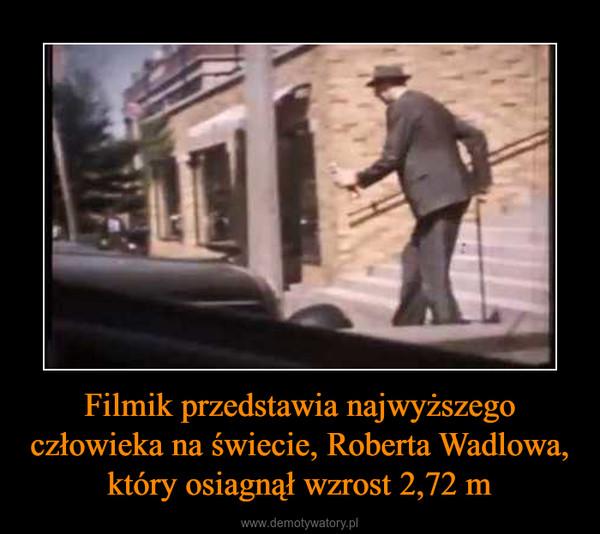 Filmik przedstawia najwyższego człowieka na świecie, Roberta Wadlowa, który osiagnął wzrost 2,72 m –