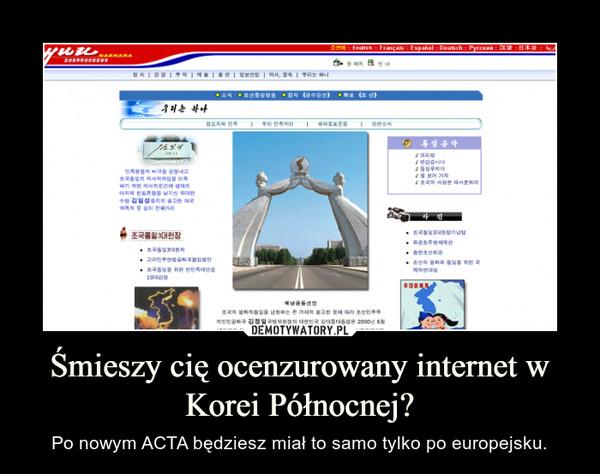 Śmieszy cię ocenzurowany internet w Korei Północnej? – Po nowym ACTA będziesz miał to samo tylko po europejsku.