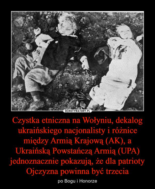Czystka etniczna na Wołyniu, dekalog ukraińskiego nacjonalisty i różnice między Armią Krajową (AK), a Ukraińską Powstańczą Armią (UPA) jednoznacznie pokazują, że dla patrioty Ojczyzna powinna być trzecia – po Bogu i Honorze