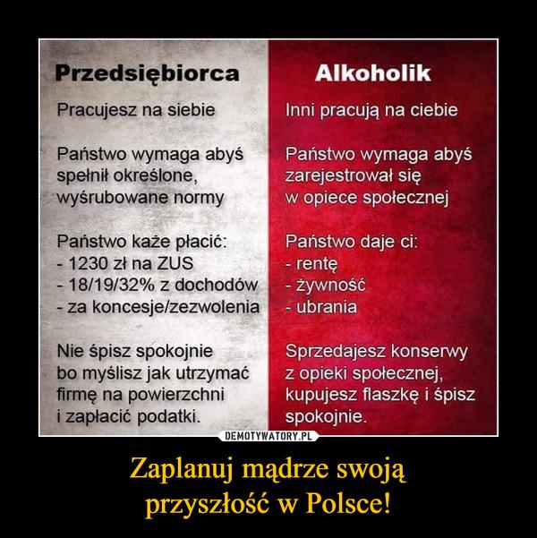 Zaplanuj mądrze swojąprzyszłość w Polsce! –  Przedsiębiorca Pracujesz na siebie Państwo wymaga abyś spełnił określone, wyśrubowane normy Państwo każe płacić: - 1230 zł na ZUS - 18/19/32% z dochodów - za koncesje/zezwolenia Nie śpisz spokojnie bo myślisz jak utrzymać firmę na powierzchni i zapłacić podatki. Alkoholik Inni pracują na ciebie Państwo wymaga abyś zarejestrował się w opiece społecznej Państwo daje ci: - rentę - żywność - ubrania Sprzedajesz konserwy z opieki społecznej, kupujesz flaszkę i śpisz spokojnie.