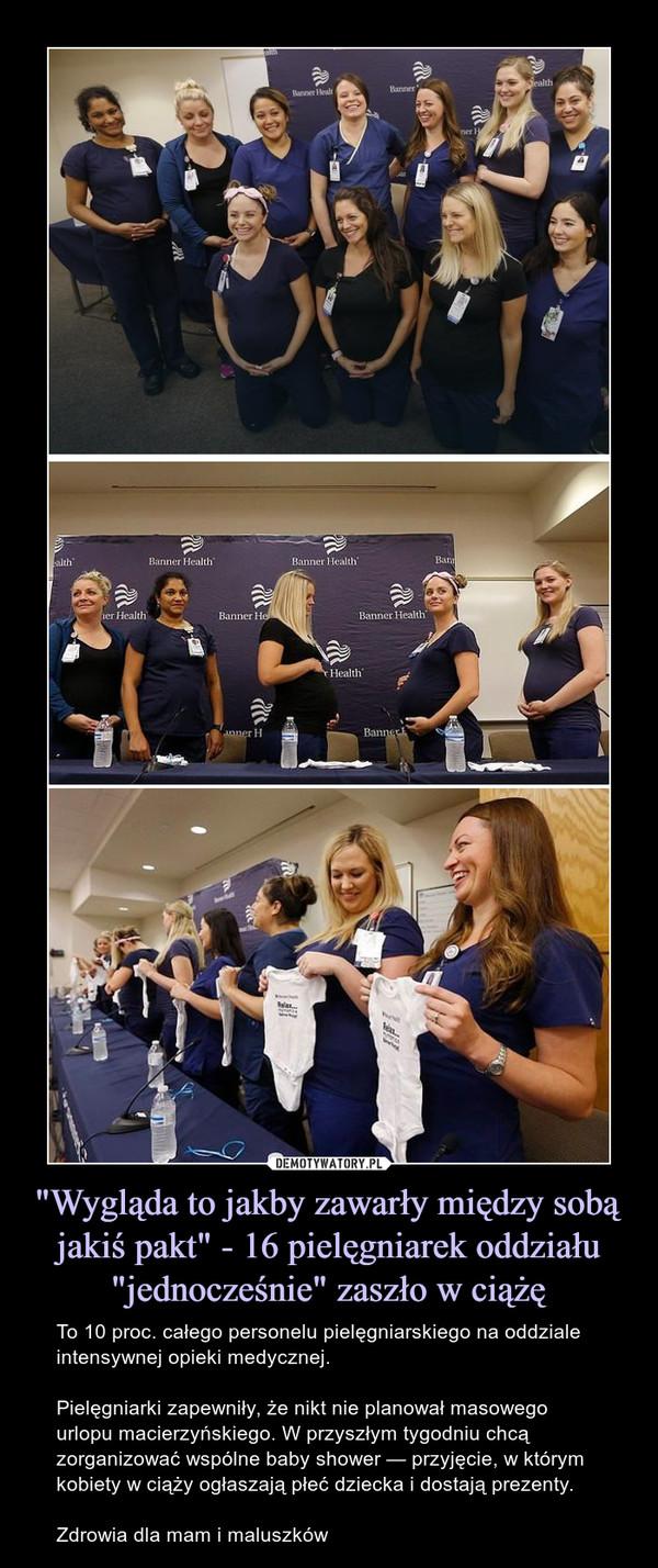 """""""Wygląda to jakby zawarły między sobą jakiś pakt"""" - 16 pielęgniarek oddziału """"jednocześnie"""" zaszło w ciążę – To 10 proc. całego personelu pielęgniarskiego na oddziale intensywnej opieki medycznej.Pielęgniarki zapewniły, że nikt nie planował masowego urlopu macierzyńskiego. W przyszłym tygodniu chcą zorganizować wspólne baby shower — przyjęcie, w którym kobiety w ciąży ogłaszają płeć dziecka i dostają prezenty.Zdrowia dla mam i maluszków"""