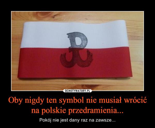 Oby nigdy ten symbol nie musiał wrócić na polskie przedramienia... – Pokój nie jest dany raz na zawsze...