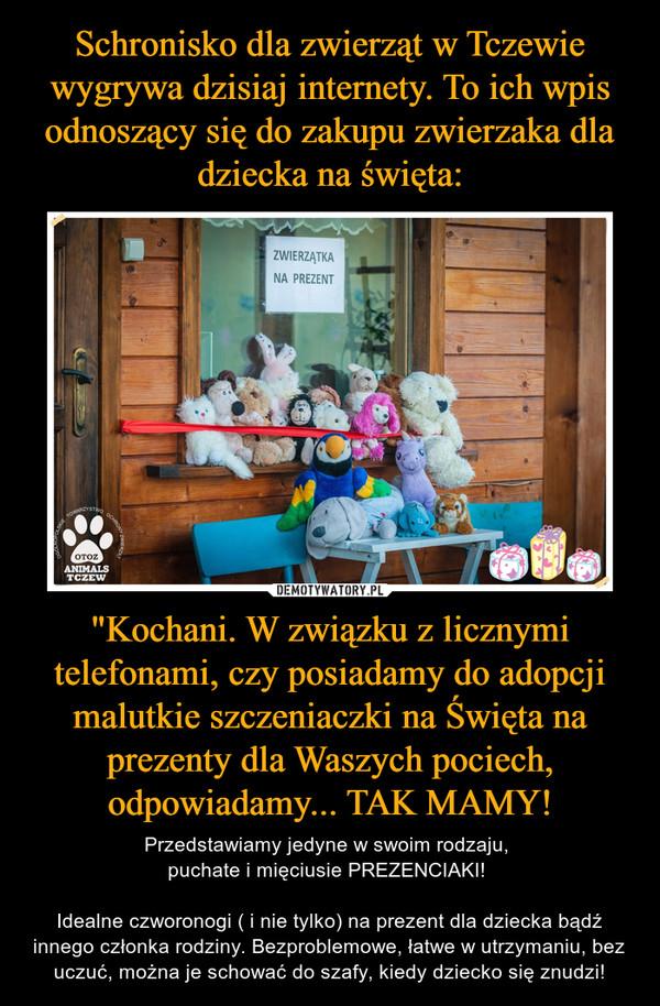 """""""Kochani. W związku z licznymi telefonami, czy posiadamy do adopcji malutkie szczeniaczki na Święta na prezenty dla Waszych pociech, odpowiadamy... TAK MAMY! – Przedstawiamy jedyne w swoim rodzaju, puchate i mięciusie PREZENCIAKI! Idealne czworonogi ( i nie tylko) na prezent dla dziecka bądź innego członka rodziny. Bezproblemowe, łatwe w utrzymaniu, bez uczuć, można je schować do szafy, kiedy dziecko się znudzi!"""