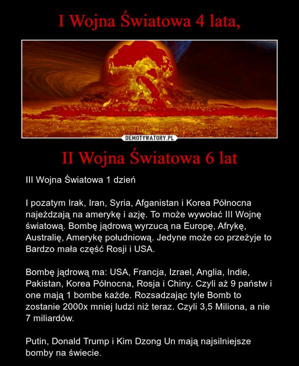 II Wojna Światowa 6 lat – III Wojna Światowa 1 dzieńI pozatym Irak, Iran, Syria, Afganistan i Korea Północna najeżdzają na amerykę i azję. To może wywołać III Wojnę światową. Bombę jądrową wyrzucą na Europę, Afrykę, Australię, Amerykę południową. Jedyne może co przeżyje to Bardzo mała część Rosji i USA.Bombę jądrową ma: USA, Francja, Izrael, Anglia, Indie, Pakistan, Korea Północna, Rosja i Chiny. Czyli aż 9 państw i one mają 1 bombe każde. Rozsadzając tyle Bomb to zostanie 2000x mniej ludzi niż teraz. Czyli 3,5 Miliona, a nie 7 miliardów.Putin, Donald Trump i Kim Dzong Un mają najsilniejsze bomby na świecie.