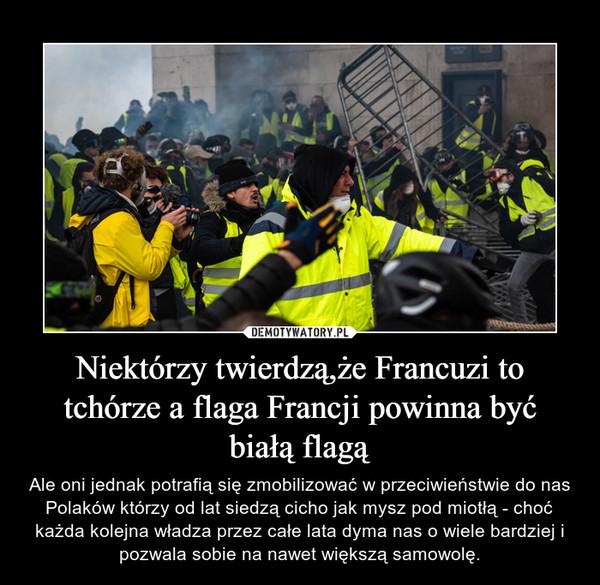 Niektórzy twierdzą,że Francuzi to tchórze a flaga Francji powinna być białą flagą – Ale oni jednak potrafią się zmobilizować w przeciwieństwie do nas Polaków którzy od lat siedzą cicho jak mysz pod miotłą - choć każda kolejna władza przez całe lata dyma nas o wiele bardziej i pozwala sobie na nawet większą samowolę.