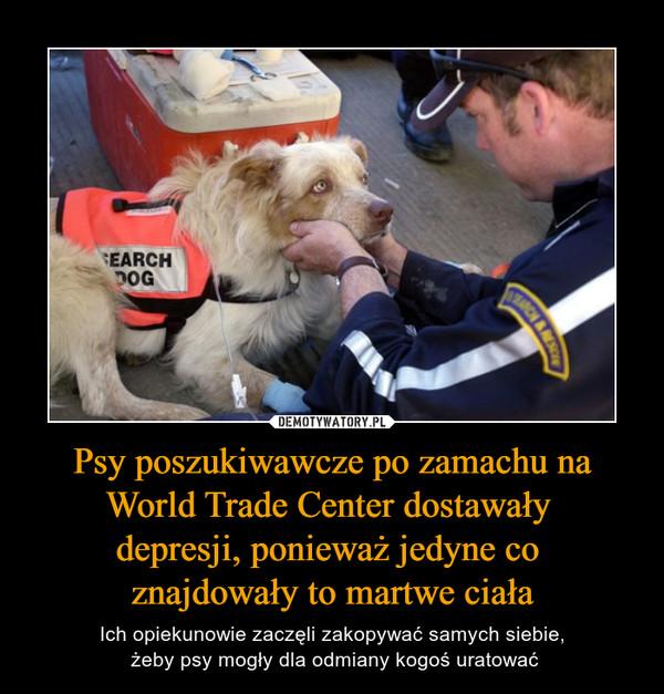 Psy poszukiwawcze po zamachu na World Trade Center dostawały depresji, ponieważ jedyne co znajdowały to martwe ciała – Ich opiekunowie zaczęli zakopywać samych siebie, żeby psy mogły dla odmiany kogoś uratować