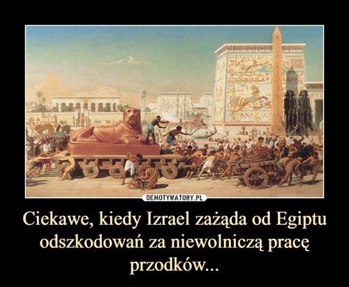 Ciekawe, kiedy Izrael zażąda od Egiptu odszkodowań za niewolniczą pracę przodków...