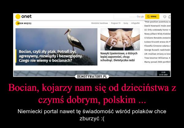 Bocian, kojarzy nam się od dzieciństwa z czymś dobrym, polskim ... – Niemiecki portal nawet tę świadomość wśród polaków chce zburzyć :(