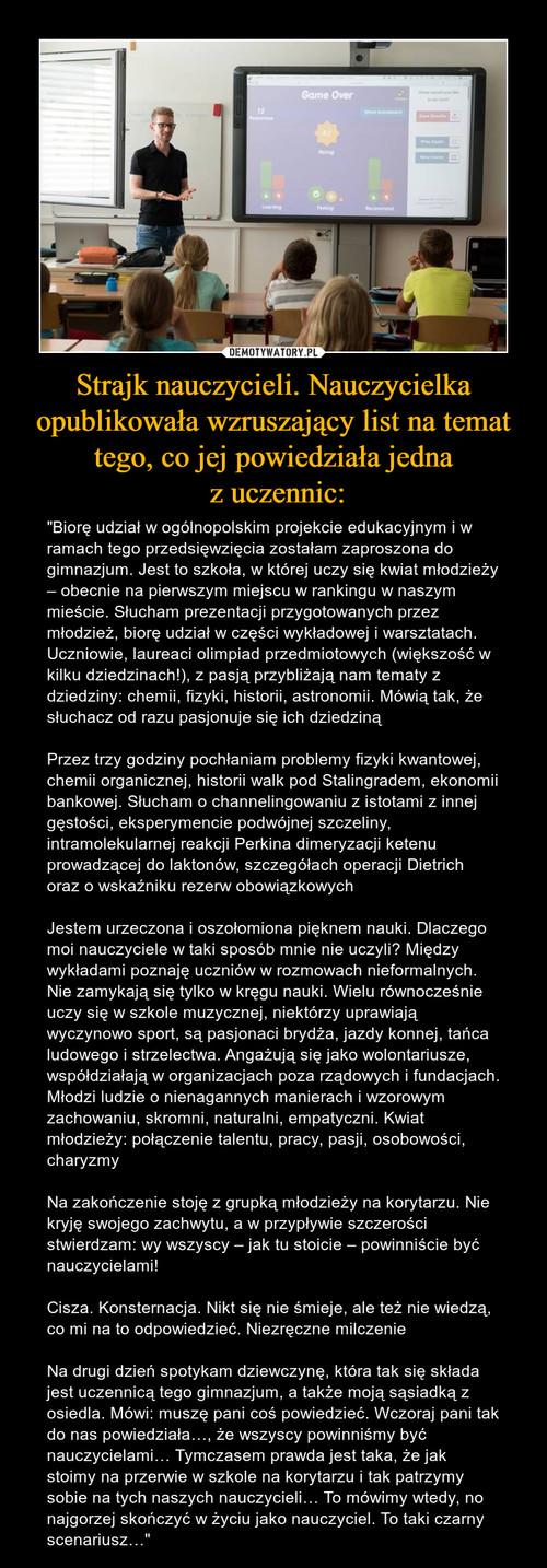 Strajk nauczycieli. Nauczycielka opublikowała wzruszający list na temat tego, co jej powiedziała jedna  z uczennic: