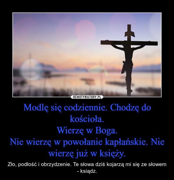 Modlę się codziennie. Chodzę do kościoła.Wierzę w Boga.Nie wierzę w powołanie kapłańskie. Nie wierzę już w księży. – Zło, podłość i obrzydzenie. Te słowa dziś kojarzą mi się ze słowem - ksiądz.