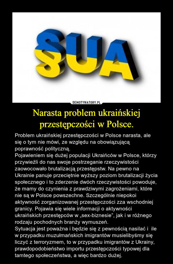 """Narasta problem ukraińskiej przestępczości w Polsce. – Problem ukraińskiej przestępczości w Polsce narasta, ale się o tym nie mówi, ze względu na obowiązującą poprawność polityczną. Pojawieniem się dużej populacji Ukraińców w Polsce, którzy przywieźli do nas swoje postrzeganie rzeczywistości zaowocowało brutalizacją przestępstw. Na pewno na Ukrainie panuje przeciętnie wyższy poziom brutalizacji życia społecznego i to zderzenie dwóch rzeczywistości powoduje, że mamy do czynienia z prawdziwymi zagrożeniami, które nie są w Polsce powszechne. Szczególnie niepokoi aktywność zorganizowanej przestępczości zza wschodniej granicy. Pojawia się wiele informacji o aktywności ukraińskich przestępców w """"sex-biznesie"""", jak i w różnego rodzaju pochodnych branży wymuszeń. Sytuacja jest poważna i będzie się z pewnością nasilać i  ile w przypadku muzułmańskich imigrantów musielibyśmy się liczyć z terroryzmem, to w przypadku imigrantów z Ukrainy, prawdopodobieństwo importu przestępczości typowej dla tamtego społeczeństwa, a więc bardzo dużej."""